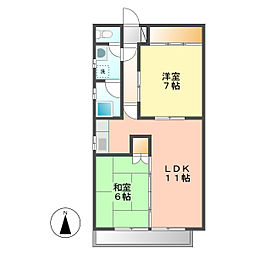 桂山大日町ハイツ2[3階]の間取り