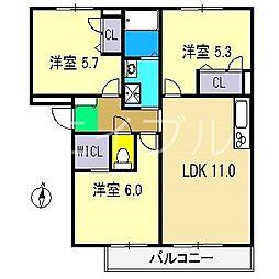 シャーメゾンクレール A棟[3階]の間取り