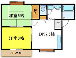 奥野ハイツ[2階]の間取り