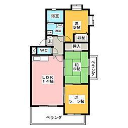愛知県名古屋市天白区高島1丁目の賃貸マンションの間取り