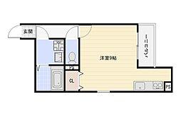 JR関西本線 平野駅 徒歩10分の賃貸アパート 3階ワンルームの間取り