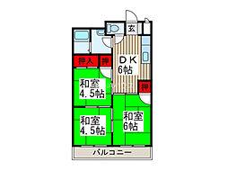 埼玉県上尾市愛宕1丁目の賃貸アパートの間取り