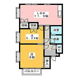 ホワイトキャッツA棟[2階]の間取り