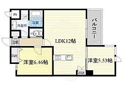 北大阪急行電鉄 緑地公園駅 徒歩13分の賃貸マンション 3階2LDKの間取り