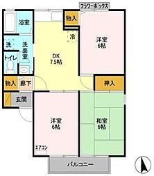リッツハウス[A202号室]の間取り