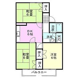静岡県御殿場市二の岡の賃貸アパートの間取り