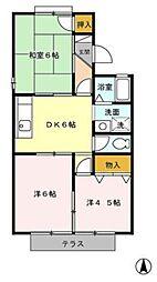 愛知県名古屋市南区豊2の賃貸アパートの間取り