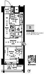 都営大江戸線 門前仲町駅 徒歩5分の賃貸マンション 12階1DKの間取り