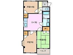 三重県四日市市まきの木台1丁目の賃貸アパートの間取り