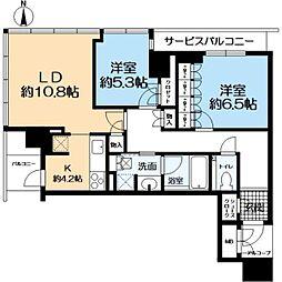 グランドメゾン新梅田タワー 7階2LDKの間取り