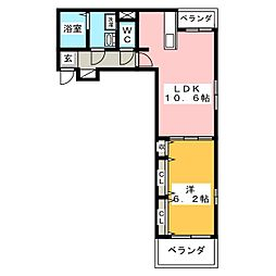 荒井アパートA(仮)[3階]の間取り