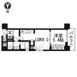 リーガル京都五条大宮503 5階1LDKの間取り