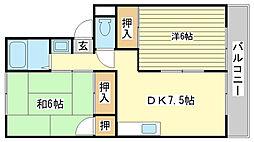 メゾン堀川 B棟[B202号室]の間取り
