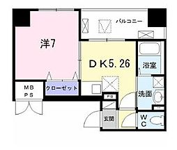 都営大江戸線 勝どき駅 徒歩12分の賃貸マンション 3階1DKの間取り