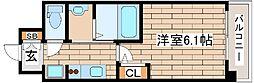 阪急神戸本線 春日野道駅 徒歩3分の賃貸マンション 13階1Kの間取り