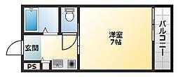 アンジュYAO 1階1Kの間取り