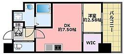 阪神本線 鳴尾・武庫川女子大前駅 徒歩6分の賃貸マンション 3階1DKの間取り