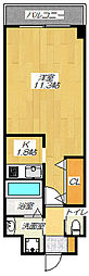 JR片町線(学研都市線) 住道駅 徒歩6分の賃貸マンション 7階1Kの間取り