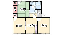 JR播但線 野里駅 徒歩18分の賃貸アパート 2階3Kの間取り
