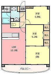 大阪府八尾市高安町南2丁目の賃貸マンションの間取り