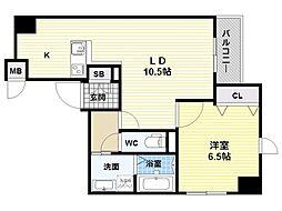 JR大阪環状線 福島駅 徒歩8分の賃貸マンション 4階1LDKの間取り