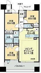 愛知県名古屋市東区矢田南1丁目の賃貸マンションの間取り