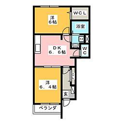 プリムローズII B[1階]の間取り