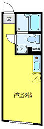 COCOFLAT田端I 3階ワンルームの間取り