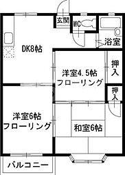 千葉県八千代市勝田台6丁目の賃貸アパートの間取り