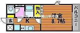 JR赤穂線 邑久駅 徒歩12分の賃貸アパート 2階1Kの間取り