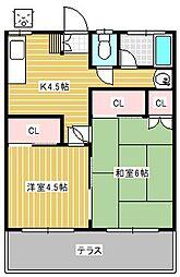 第一みつる荘[202号室]の間取り