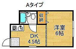 岩本ハイツ 1階1DKの間取り