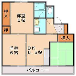 ビレッジハウス伊川2号棟[1階]の間取り