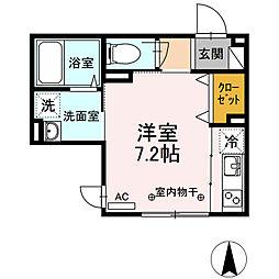 京王線 調布駅 徒歩7分の賃貸アパート 1階ワンルームの間取り