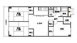 福岡県福岡市南区野間4丁目の賃貸マンションの間取り