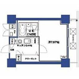 HF梅田レジデンスTOWER 21階1Kの間取り