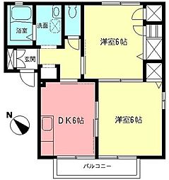 神奈川県秦野市西大竹の賃貸アパートの間取り