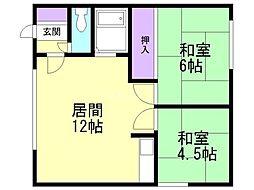コーポ新札幌 1階2LDKの間取り