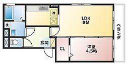 大阪府大阪市阿倍野区昭和町5丁目の賃貸アパートの間取り
