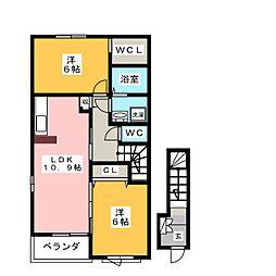 ヴィラ・斎宮A 2階2LDKの間取り