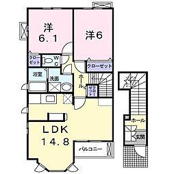 兵庫県加古川市別府町新野辺北町7丁目の賃貸アパートの間取り