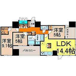 愛知県名古屋市千種区末盛通1丁目の賃貸マンションの間取り