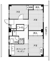 ビレッジハウス四郎丸2号棟1階Fの間取り画像