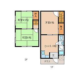 近鉄天理線 天理駅 バス10分 勾田下車 徒歩10分の賃貸テラスハウス 1階3DKの間取り