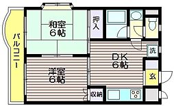 東京都三鷹市中原1の賃貸マンションの間取り