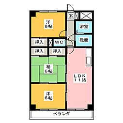 グレースマンション藤[3階]の間取り