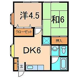 エステートピアHT 2階2DKの間取り