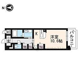 京都地下鉄東西線 山科駅 徒歩6分の賃貸マンション 3階1Kの間取り