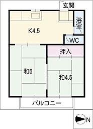 イヤーコート上豊田 B[2階]の間取り