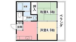 岡本ハイツ[203号室]の間取り
